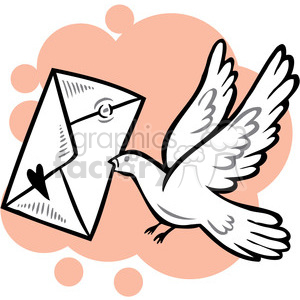 bird carrying love letter clipart. Commercial use image # 386707