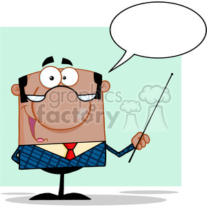 Clipart of African American Business Manager Gesturing With A Pointer Stick And Speech Bubble clipart. Commercial use image # 386835