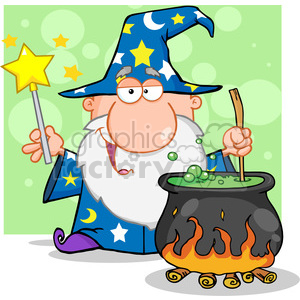 RF Funny Wizard Waving With Magic Wand And Preparing A Potion clipart. Royalty-free image # 386845