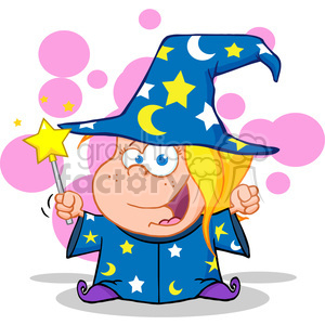 Royalty Free Happy Wizard Girl Waving With Magic Wand clipart. Royalty-free image # 386865