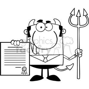 Clipart of Smiling Devil Boss With A Trident Holds Up A Contract clipart. Royalty-free image # 386885