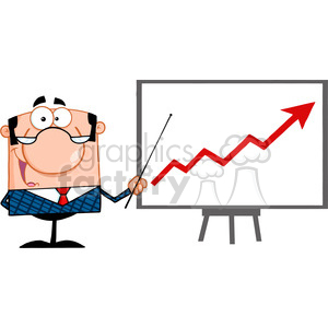 Royalty Free Happy Business Manager With Pointer Presenting A Progressive Arrow
