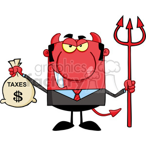 Royalty Free Smiling Devil With A Trident And Holding Taxes Bag clipart. Commercial use image # 386955