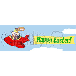 Easter Bunny Flying With Plane And A Blank Banner Attached clipart. Royalty-free image # 386965
