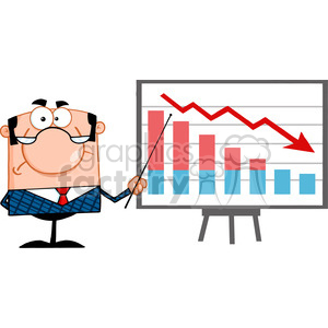 Clipart of Angry Business Manager With Pointer Presenting A Falling Chart clipart. Royalty-free image # 386975