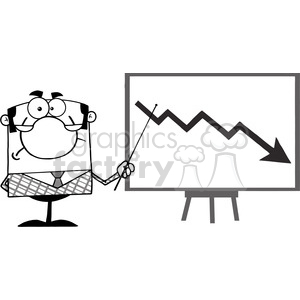 Clipart of Angry Business Manager With Pointer Presenting A Falling Arrow clipart. Royalty-free image # 386985
