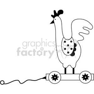 Pull Toy Rooster Chicken clipart. Commercial use image # 387256