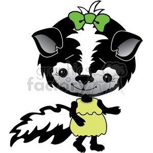 Skunk in green dress clipart. Commercial use image # 387306