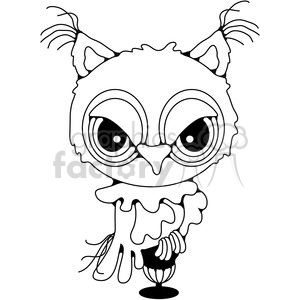 black and white Owl clipart. Commercial use image # 387455