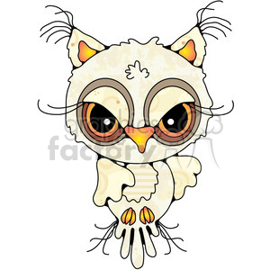 Owl Front View Colored