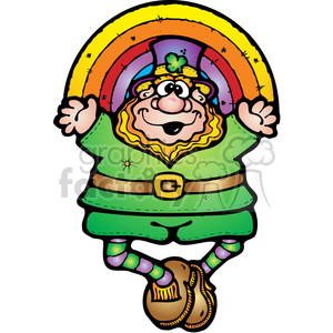 Leprechaun and Rainbow COL clipart. Royalty-free image # 387555