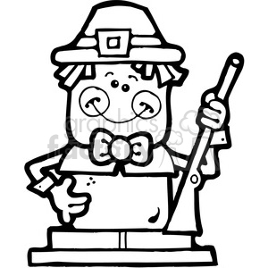 SMORE Pilgrim Boy BW clipart. Commercial use image # 387587