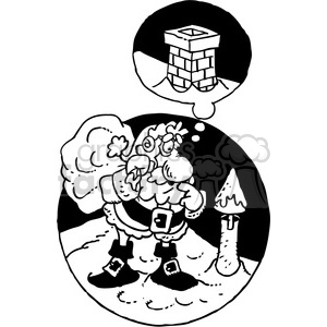 black and white cartoon santa on rooftop clipart. Commercial use image # 387783