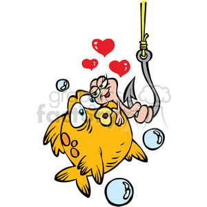 cartoon funny silly comical characters fish fishing hook worm love