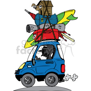 cartoon funny silly comical characters vacation travel car driving road traveling moving loaded stacked pile