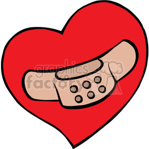 cartoon heart with band aid on it clipart. Royalty-free image # 387822