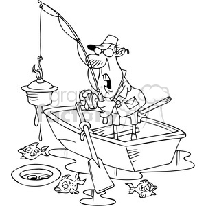 black and white cartoon fishing character finding junk clipart. Royalty-free image # 387842