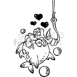 black and white cartoon fish with worm on a hook clipart. Commercial use image # 387852