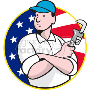 cartoon retro illustration construction monkey+wrench plumber plumbers plumbing man worker USA flag America