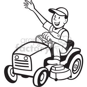 black and white farmer riding tractor mower clipart. Commercial use image # 387886