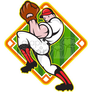 baseball pitcher front diamond clipart. Commercial use image # 387896