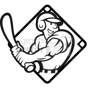 black and white baseball player batting side diamond half clipart. Royalty-free image # 387906