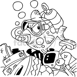 black white cartoon fish wearing scuba mask clipart. Commercial use image # 387908