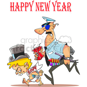 2014 baby new year arrested by the party police clipart. Commercial use image # 387938