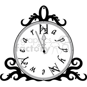 cartoon happy+new+year clock new+year new+years+eve black+white
