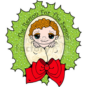 Baby Jesus in wreath clipart clipart. Commercial use image # 388002