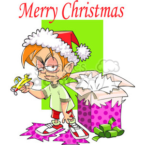 sad boy on Christmas morning in color clipart. Commercial use image # 388081