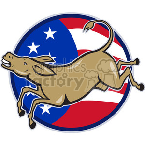 donkey jumping side left US FLAG CIRC clipart. Commercial use image # 388101