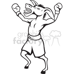 black and white donkey democrat boxer celebrate clipart. Commercial use image # 388121