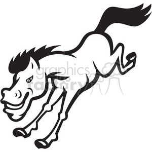 black and white mustang horse jumping clipart. Commercial use image # 388131