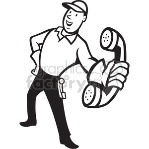 black and white telephone repairman handing phone EPS10 clipart. Royalty-free image # 388141