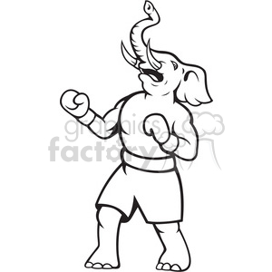 black and white elephant republican boxer celebrate clipart. Royalty-free image # 388151