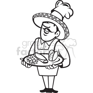 black and white chef mexican plate tacos clipart. Commercial use image # 388171
