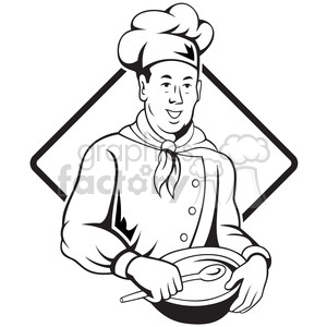 black and white chef holding spoon and bowl front BG clipart. Commercial use image # 388181