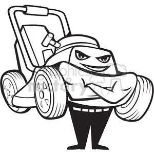black and white happy lawnmower smiling front clipart. Commercial use image # 388211