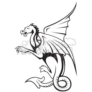 black and white big dragon side clipart. Commercial use image # 388271
