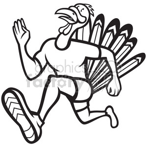 black and white turkey runner frnt side clipart. Royalty-free image # 388281