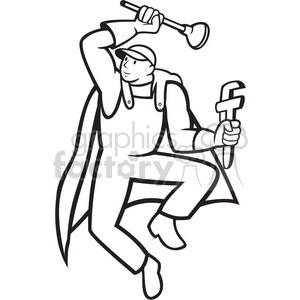 black and white super plumber plunger wrench fly clipart. Royalty-free image # 388301