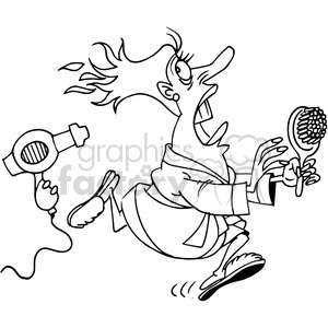 lady getting chased by her hair dryer in black and white clipart. Royalty-free image # 388341