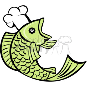 cartoon chef cook restaurant fish fishmonger market green