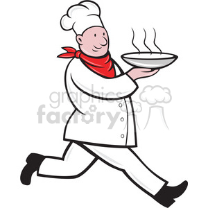 cartoon chef cook restaurant dinner food rushing running walking bowl carrying