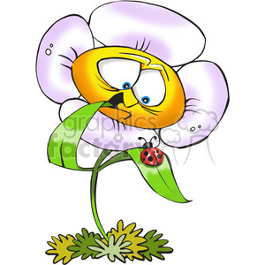 cartoon flower with ladybug clipart. Commercial use image # 388409