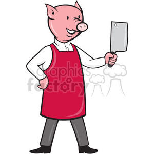cartoon pig chef cook restaurant pork pigs butcher cooking