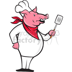 cartoon pig chef cook restaurant pork pigs food dinner cooking hog hogs