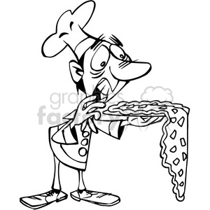 pizza chef dropping pizza in black and white