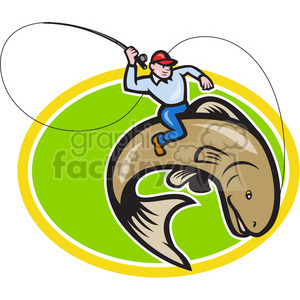 fly fisherman riding a trout fish clipart. Royalty-free image # 388629